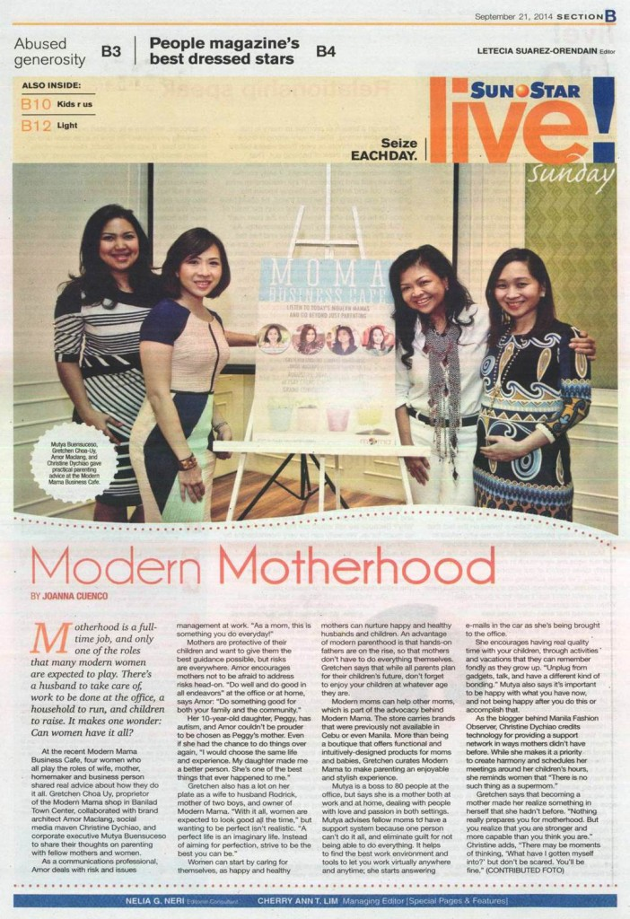 MODERN MAMA_SunStarCebu Page B_September 21 2014